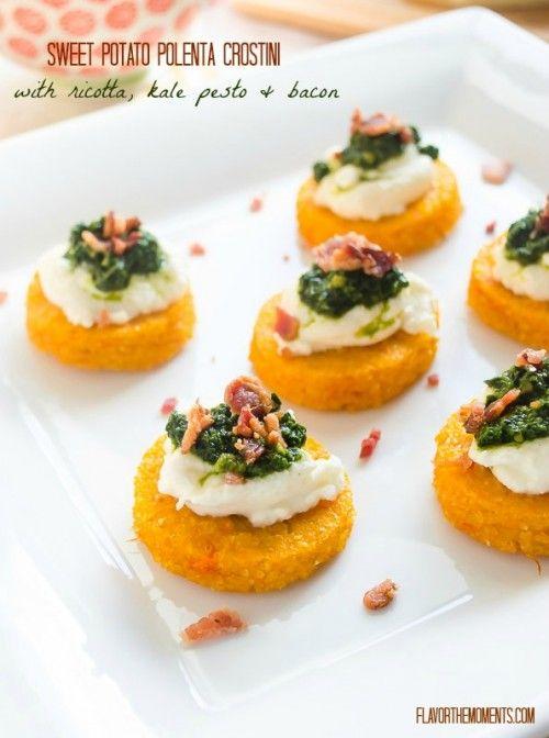 Sweet Potato Polenta Crostini with Ricotta, Kale Pesto, and Bacon   flavorthemoments.com #appetizers #polenta #crostini #pesto