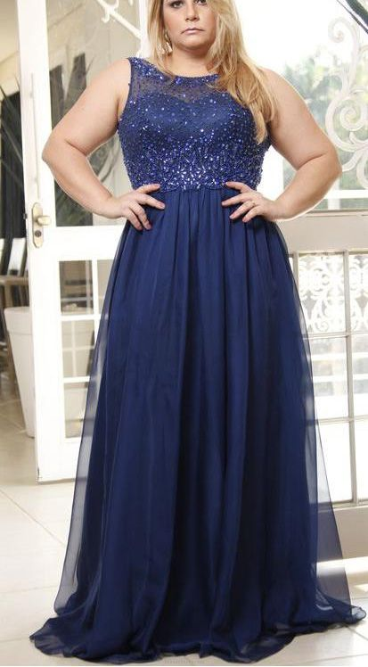 317860c3163 ... Beautiful Plus Size Prom Dresses Dark Navy Floor-length Prom Dress.  Long Prom Dresses 2017