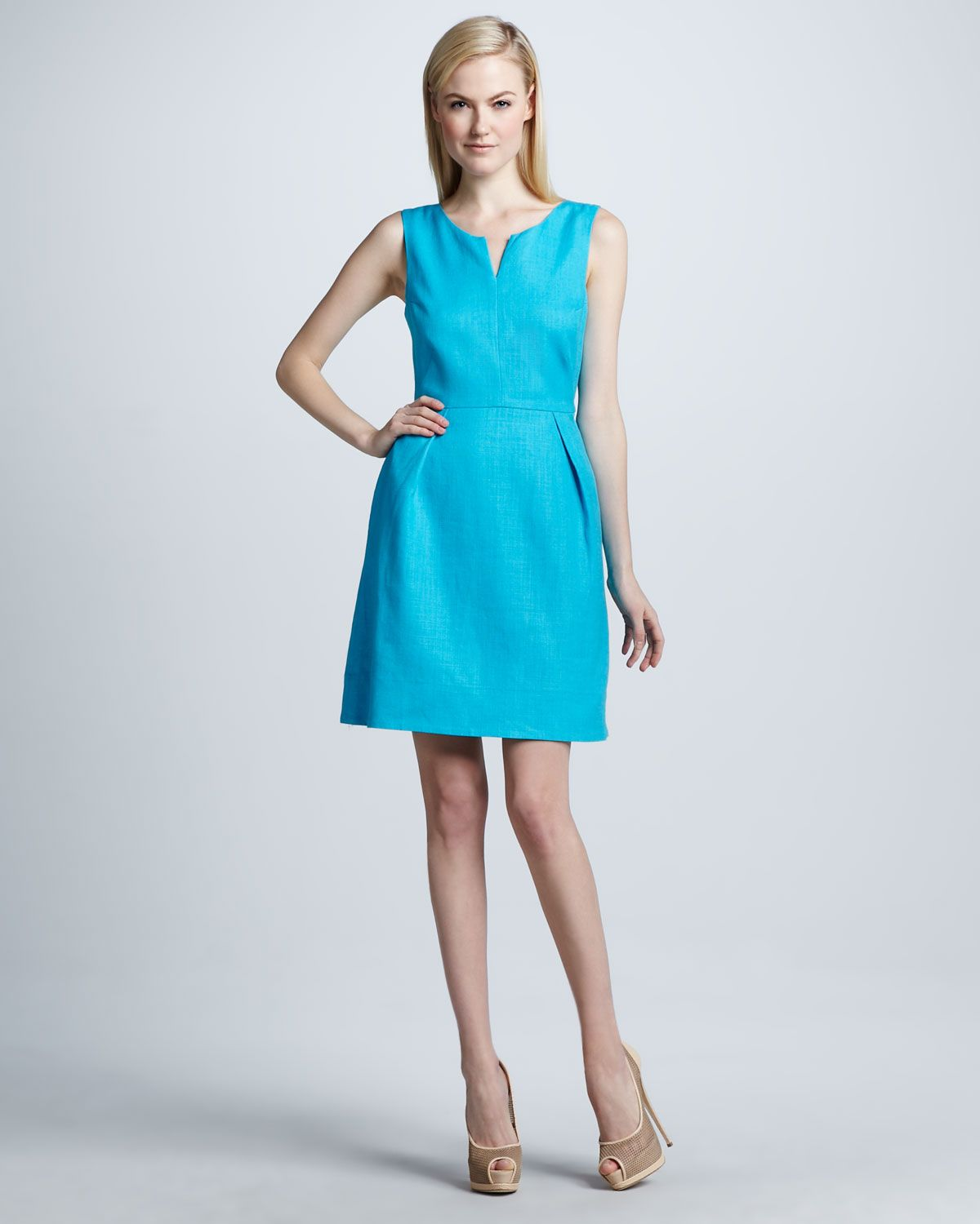 Pale pink dress for wedding guest  kate spade new york cleo openback blue dress  Neiman Marcus  uc