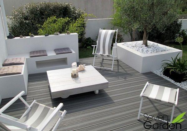 Terrasse composite authentique chic exterieur - Mobilier jardin blanc saint etienne ...