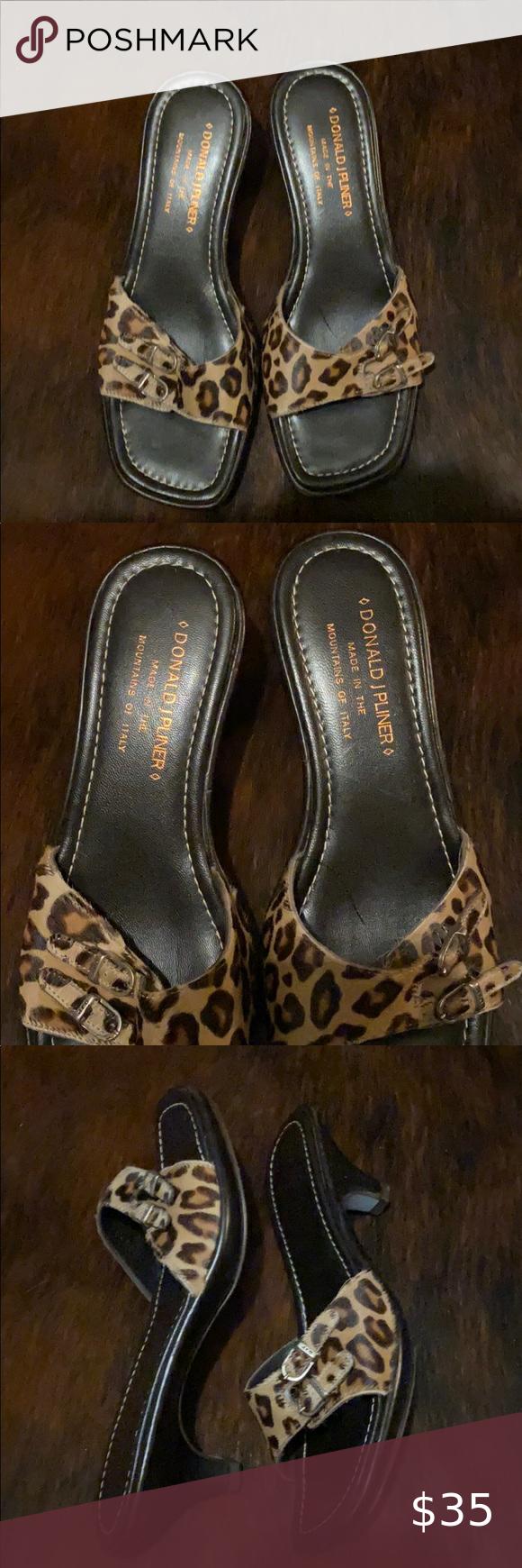 Leopard Donald Pliner Kitten Heel Sandals In 2020 Kitten Heel Sandals Shoes Women Heels Kitten Heels