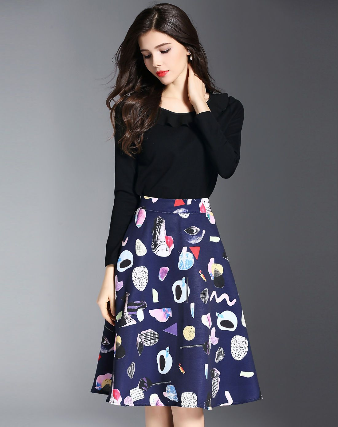 c109547add4  AdoreWe BIEMEI Multicolor Two Piece Plain Top Printed A Line Midi Skirt -  AdoreWe.com
