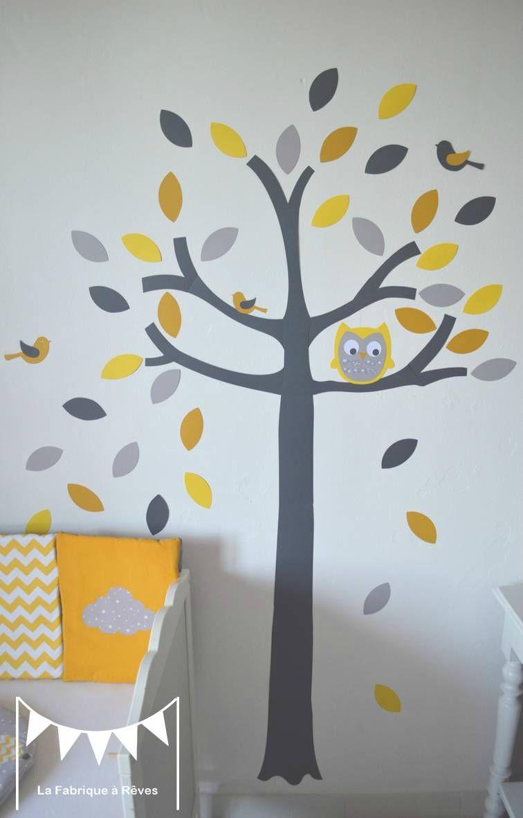stickers arbre gris jaune blanc hibou chouette oiseaux feuilles ...
