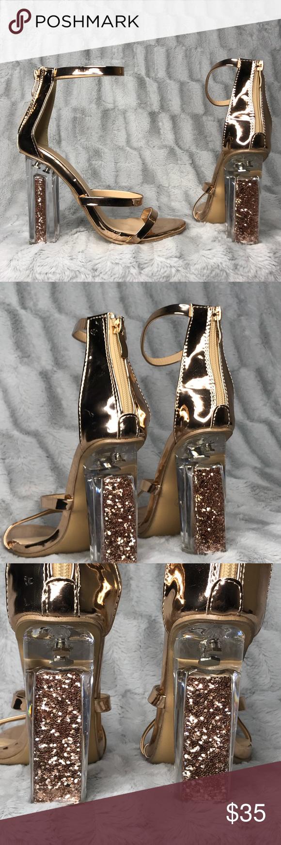 45dddd9ded2 DiJi Girls Glitter Clear Rose Gold Strappy Heels DiJi Girls Glitter Clear  Metallic Rose Gold Strappy