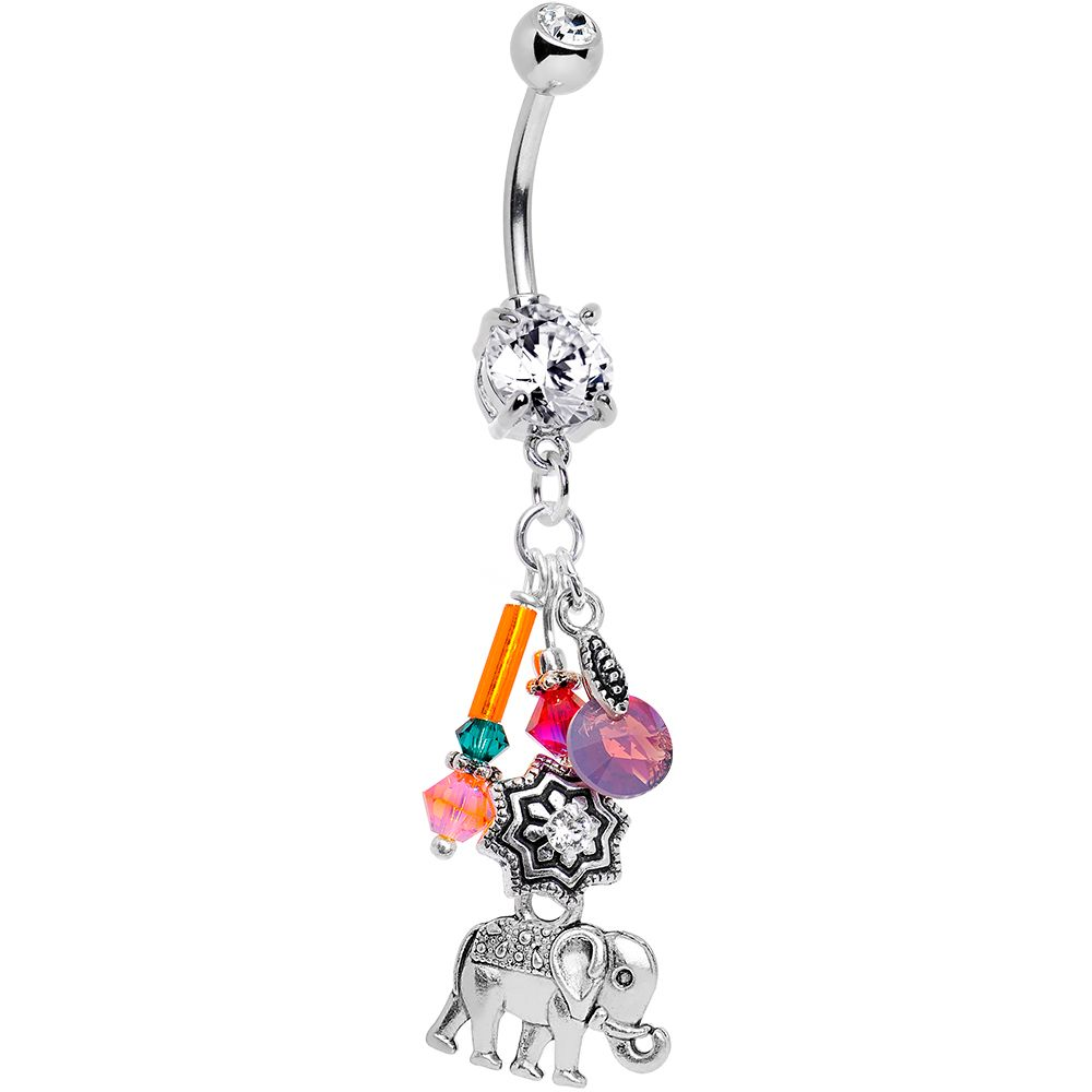 Belly without piercing  Handcrafted Elephant Dangle Belly Ring Created with Swarovski