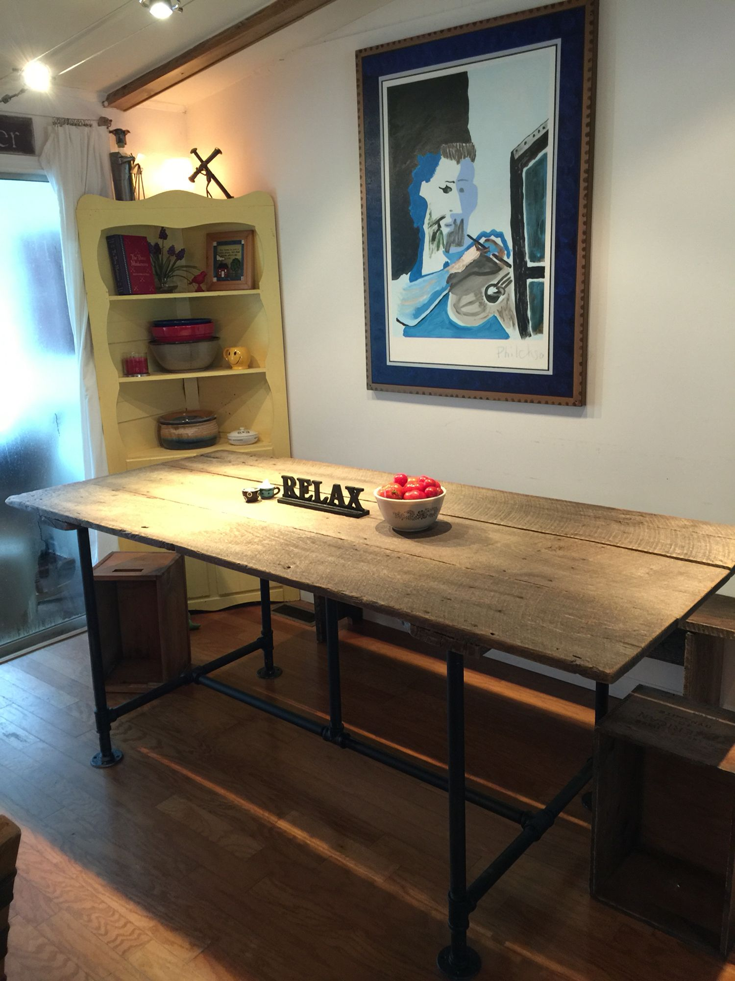 Dining Room Table Made From A Very Old Barn Door And Some Galvanized Pipe