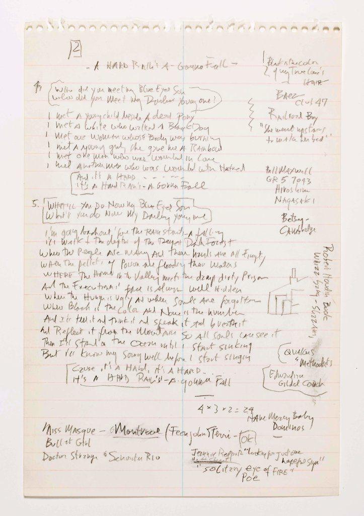 Dylan S Handwritten Lyrics To Like A Rolling Stone To Be Auctioned Like A Rolling Stone Rolling Stones Dylan
