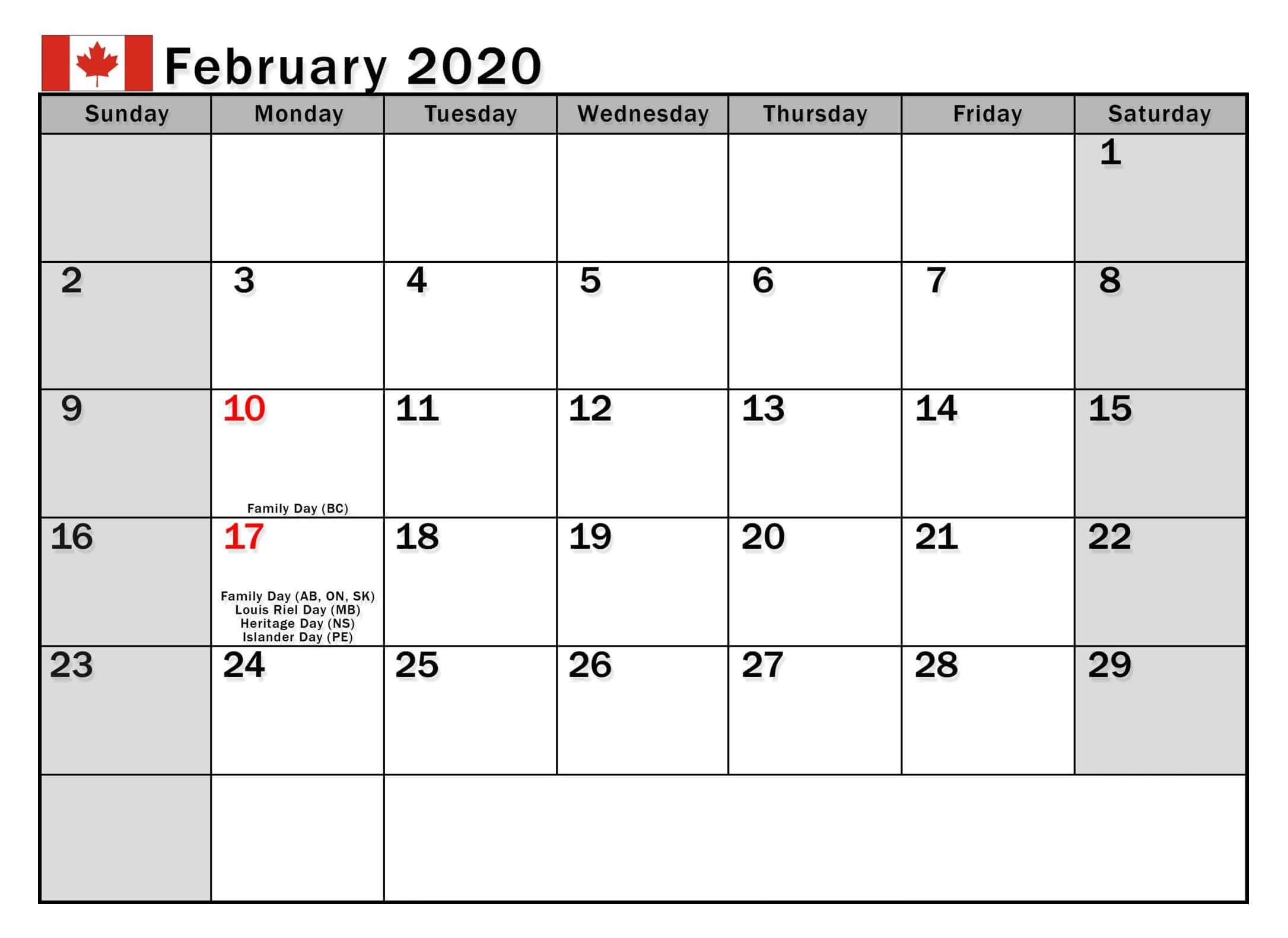 February 2020 Calendar With Holidays Us Uk Canada India In 2020