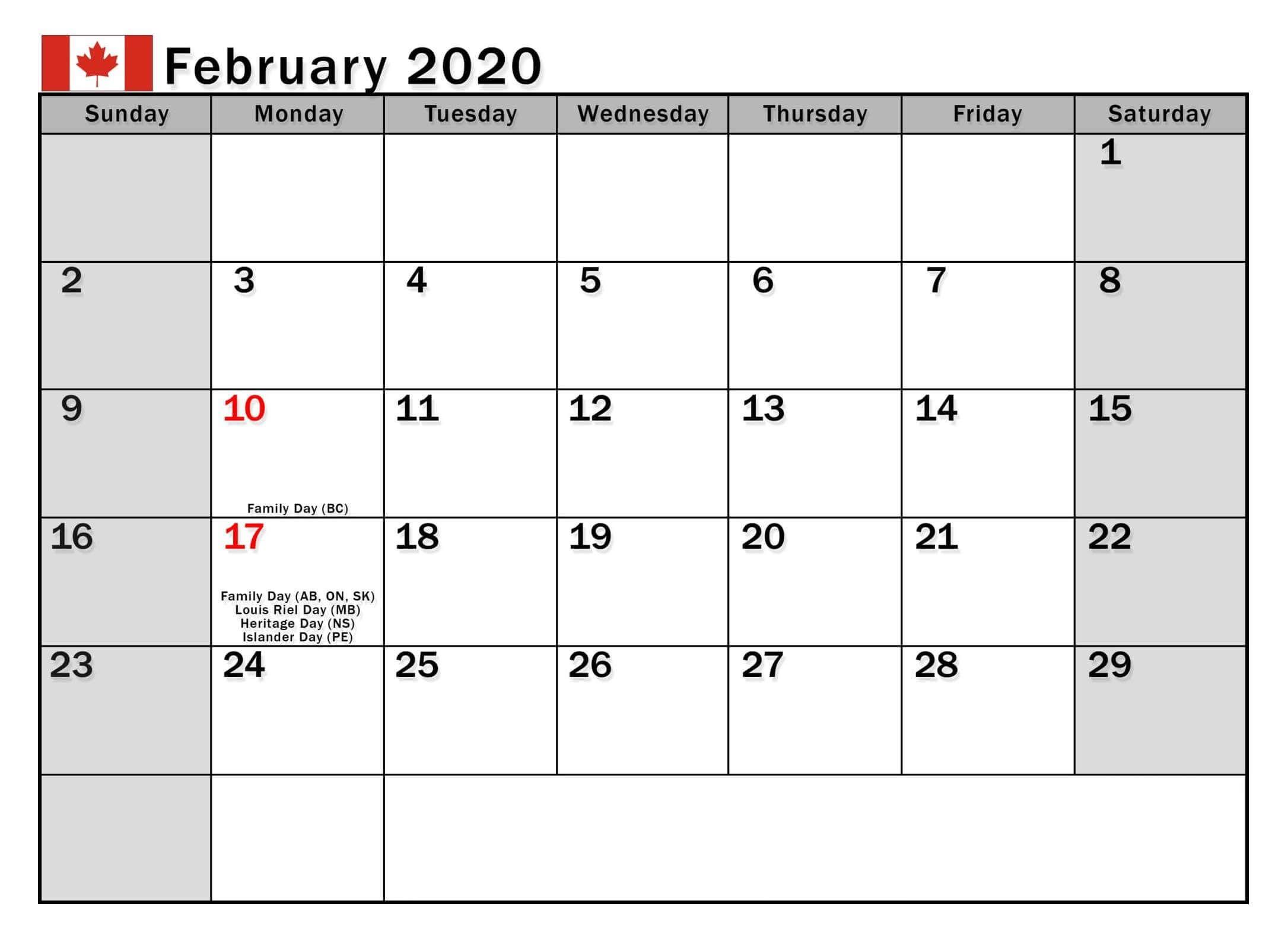 February 2020 Calendar With Holidays US, UK, Canada, India