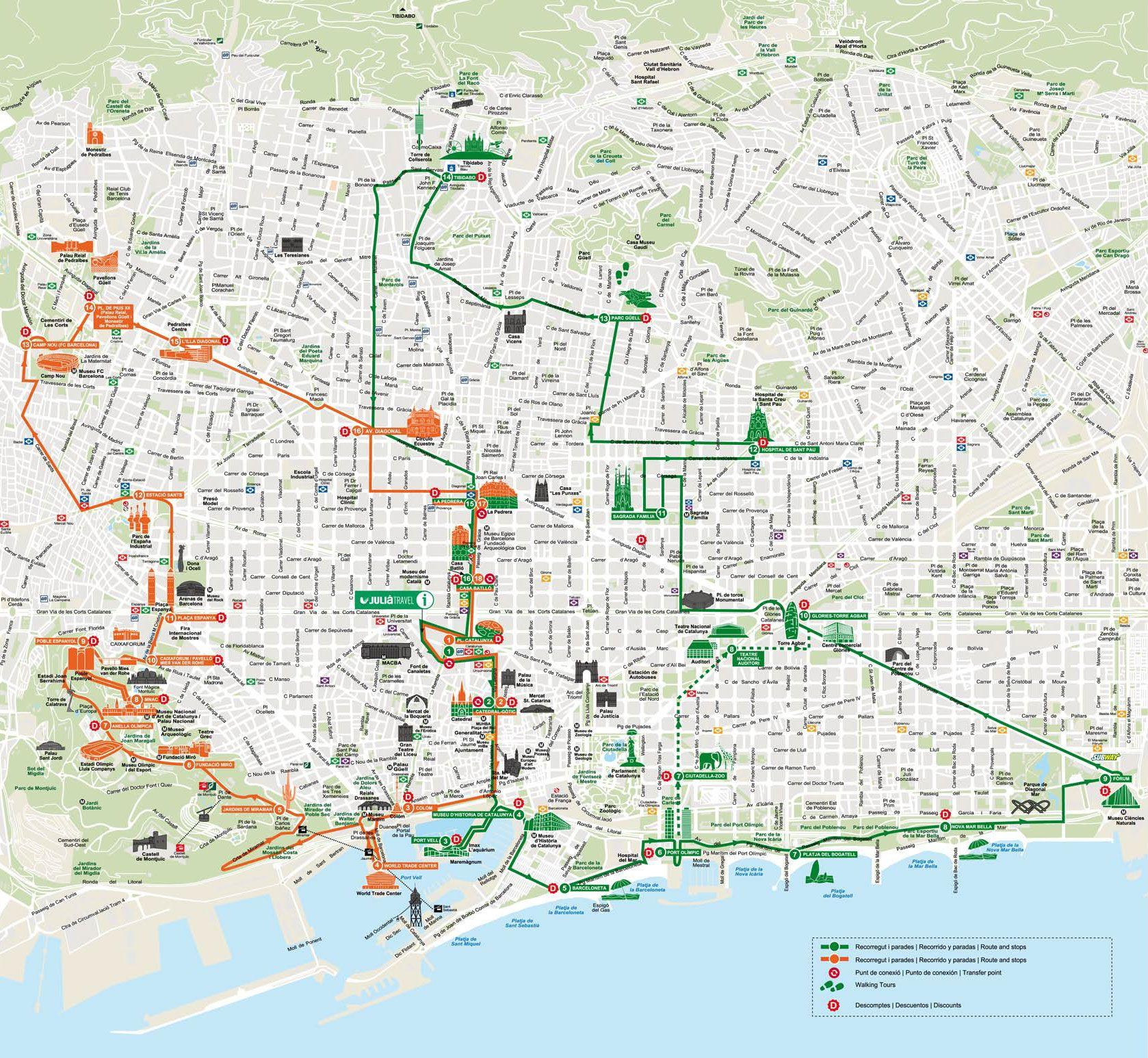 Touristischen Karte Von Barcelona Sehenswurdigkeiten Und Touren Barcelona Karten Touren