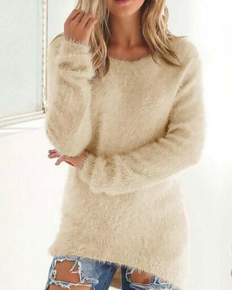 b6014017c2 Women s Pullover Long Sleeve Sweater Solid Knitting Casual Sweater –  lalasgal