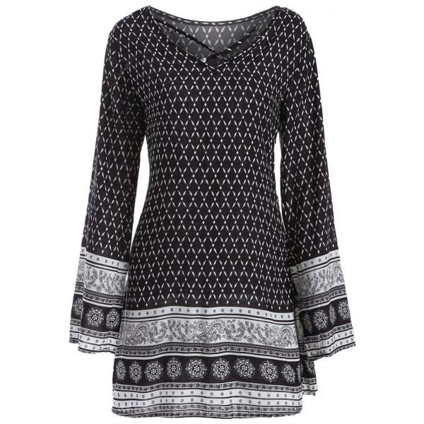 Long Sleeve Strappy Print Dress, BLACK, L in Print Dresses   DressLily.com