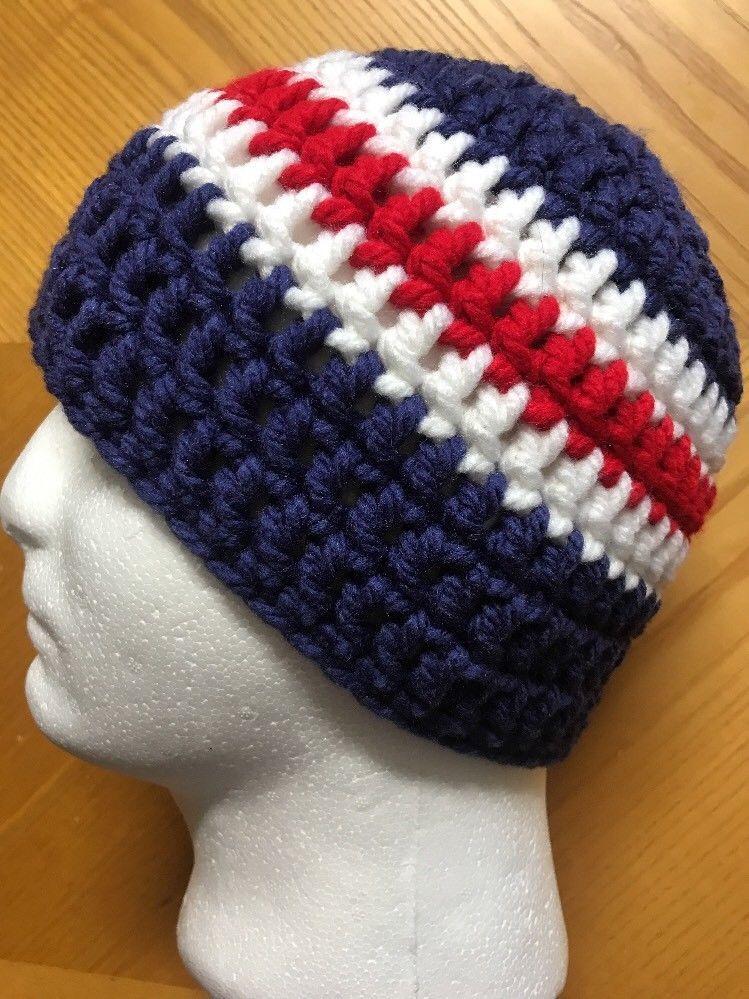 Mens TEEN Crochet SKI Hat Beanie Handmade PATRIOTS TEAM CHUNKY BLUE RED  WHITE  Handmade  Beanie 1a267afa903