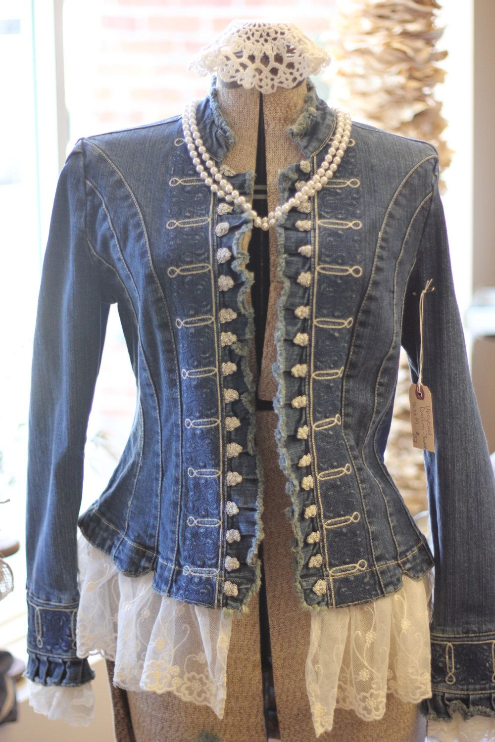ladies denim jean jacket with lace upcycled military style. Black Bedroom Furniture Sets. Home Design Ideas