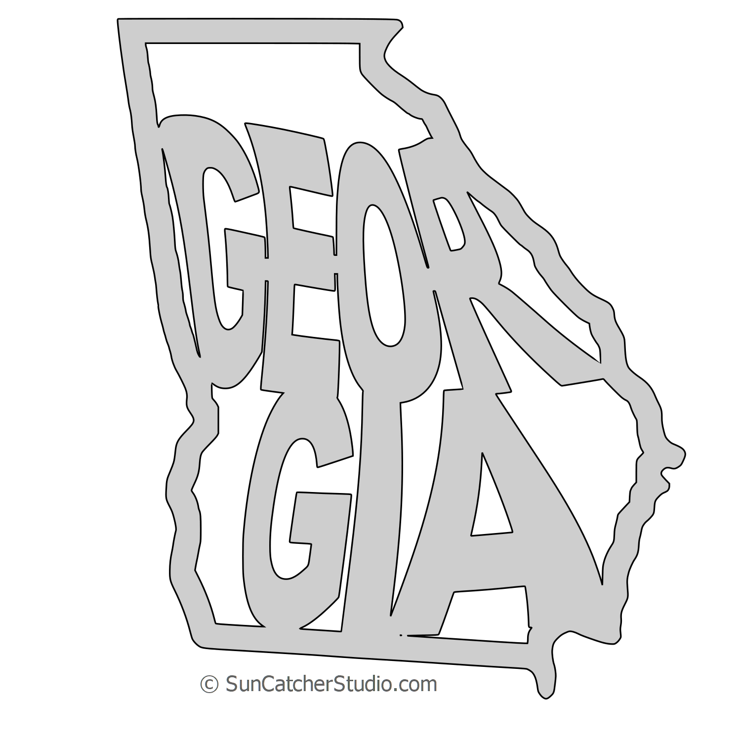 Georgia Map Outline Printable State Shape Stencil Pattern
