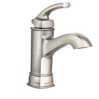 Hensley Spot resist brushed nickel Microban one-handle high arc bathroom faucet  -- WS84414MSRN -- Moen