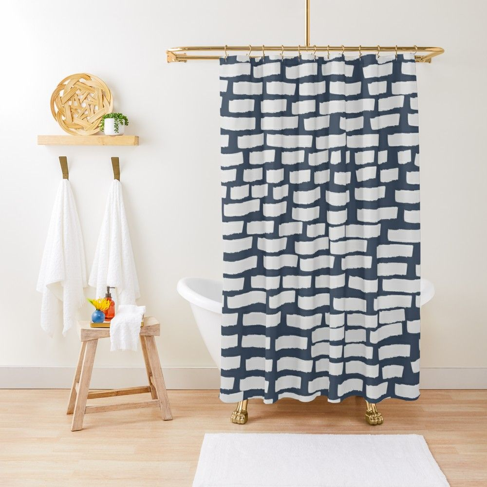 'Light Grey Strokes on Blue Grey' Shower Curtain by BlertaDK