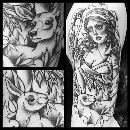 1st session, colours still to come #greekgoddess #deer #hare #archer #artemis #neotraditional #tattoo #inprogress #katrinesimba #luckyseven ...
