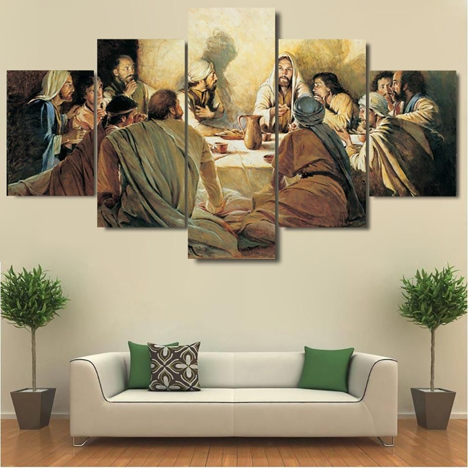 Home Wall Decoration Canvas Print 5 Panel Christian Jesus Cross