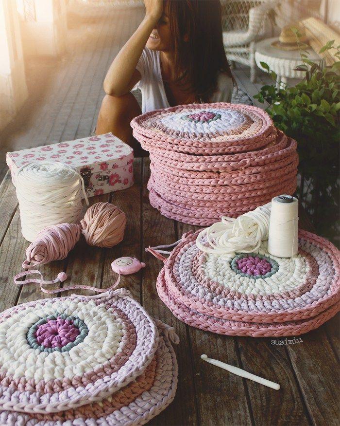 Tutorial de bajo platos de trapillo hechos a ganchillo - Puntos crochet trapillo ...