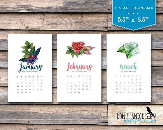 Month  Printable Calendar  Flower Feather Arrow Desk