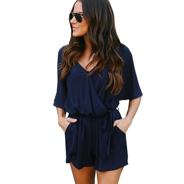 c71f2d08d569 Qunndy Boho Red Solid Ruffles Playsuits Women Elegant Summer V Neck Jumpsuits  Rompers Sexy Loose Beach