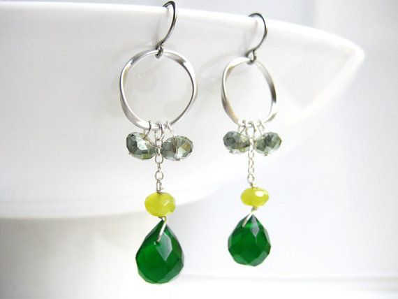 Emerald Green Earrings - long silver green, dark green dangle, briolette tear drop, lime green - Twisted Hoop (Pine) on Etsy, $34.99