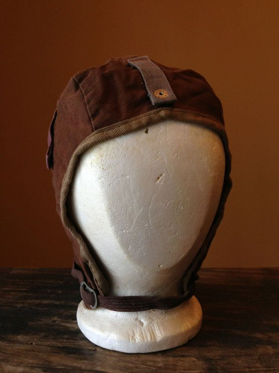 dc57d43c1e0f2 Vintage Aviator Pilot Hat Brown Scovill Snaps Military Collectables Theatre  Costumes Cosplay Cool Accessories Caps Home Decor