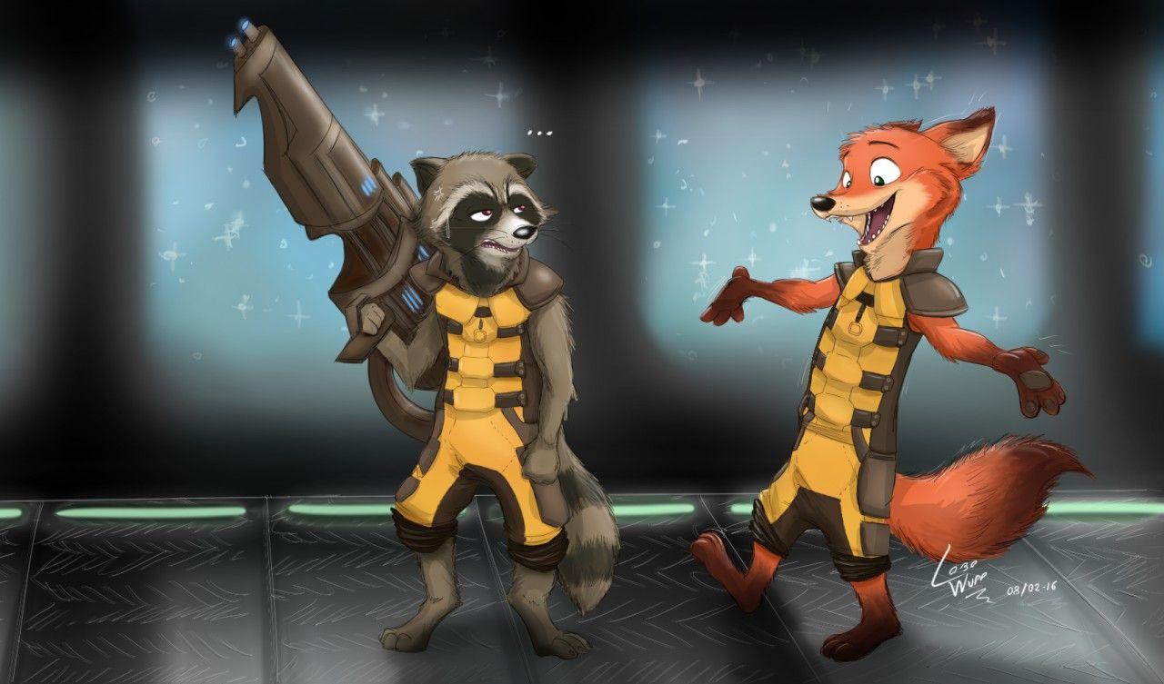 Rocket Raccoon & Rocket Fox (?) - by lobowupp