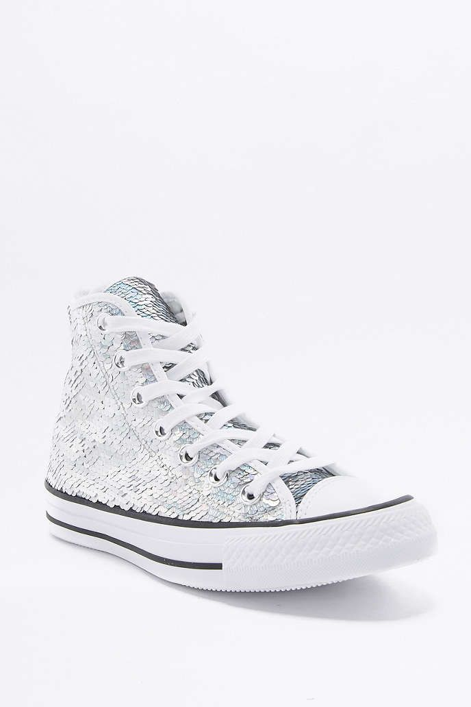 Converse All Star Chuck Taylor Silver Sequin High-Top Trainers