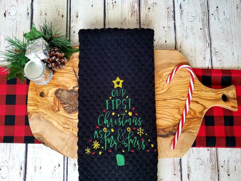 Our First Christmas As Mr And Mrs Kitchen Towel With Images