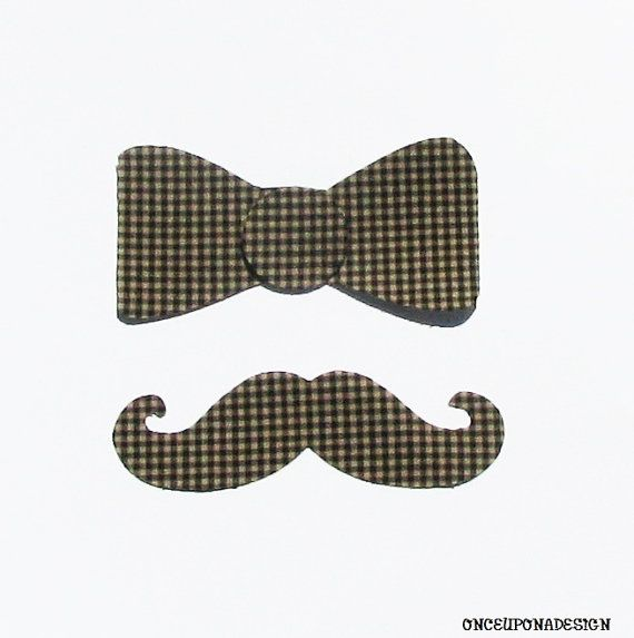Gentlemen's Club...Bow Tie And Mustache...Fabric Iron On Appliques by onceuponadesign.etsy.com $4.95