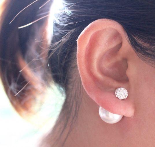 Double Pearl Jacket Earring