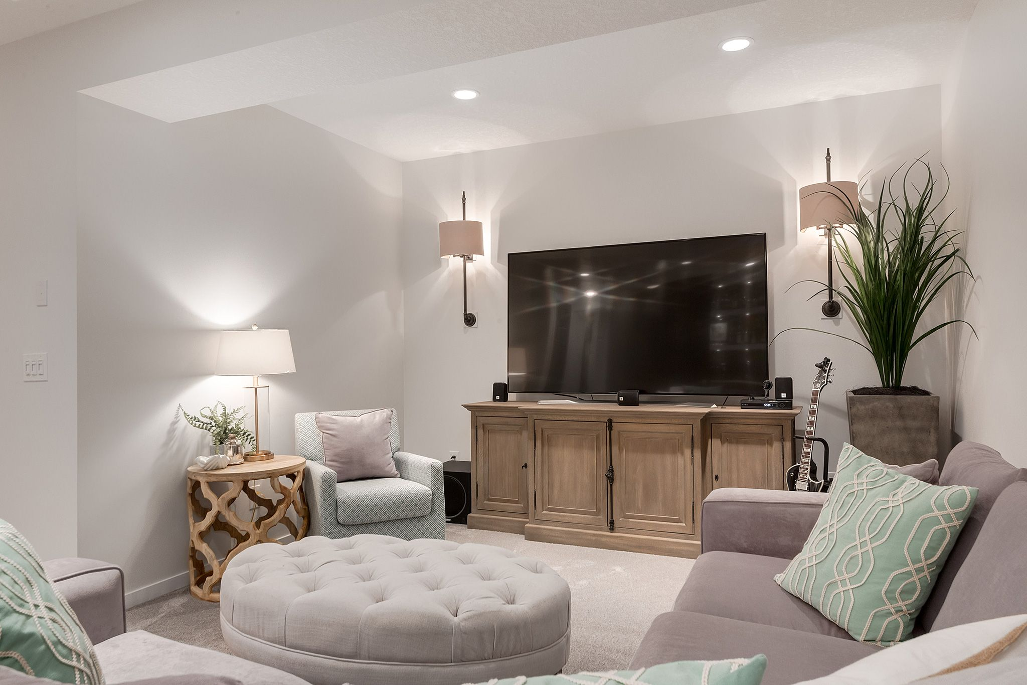 family room basement restoration hardware tufted on wall sconces id=58879