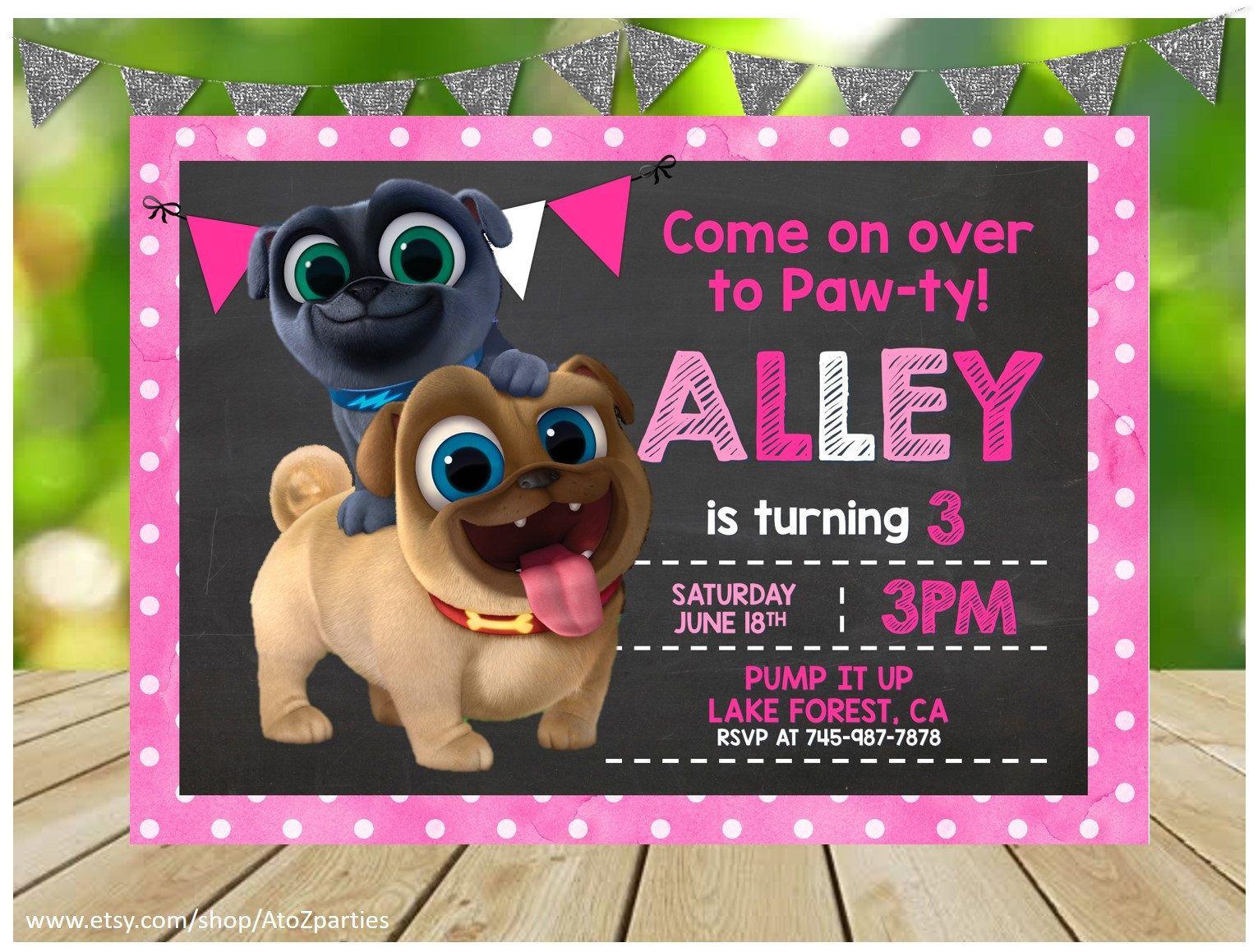 Puppy Dog Pals Invitation Puppy Dog Pals Birthday Printable Invitation 5x7 Print At Home Chalkboard Invitation Pink Invitations Birthday Printables