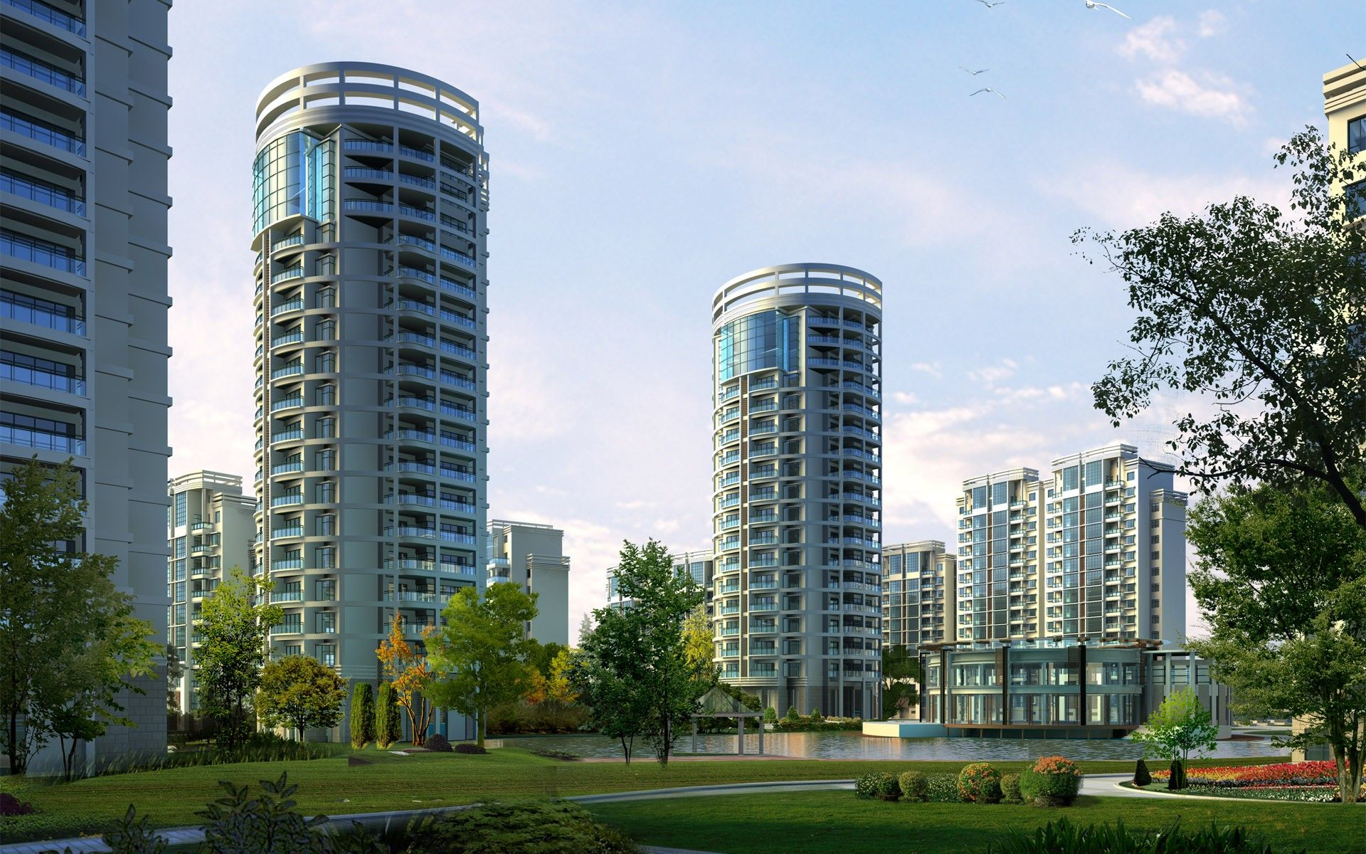 Download Wallpaper Multi-storey residential buildings of the modern city -  1920x1200