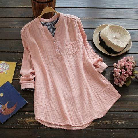 0b8cc8ccd80 Top Fashion 2018 ZANZEA Casual V-Neck Long Sleeve Loose Blouse Women Spring  Solid Cotton Linen Baggy Work Office Shirts Vestido