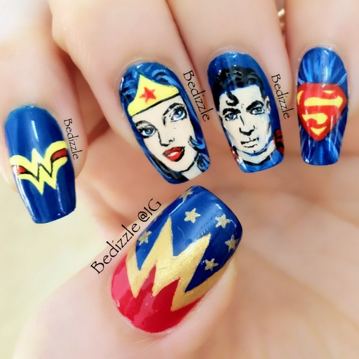 Superman and superwomen nail art by bedizzle on Instagram