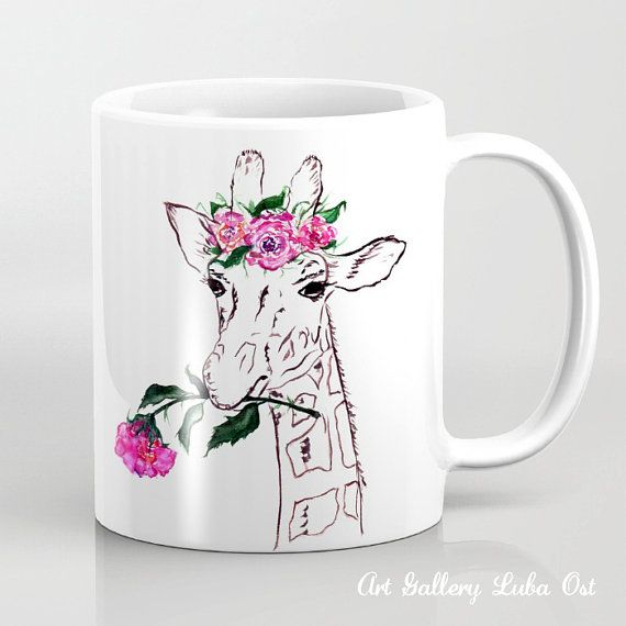 Giraffe Mug Watercolor Tea Mug Art Print Nice By Lubaostgallery