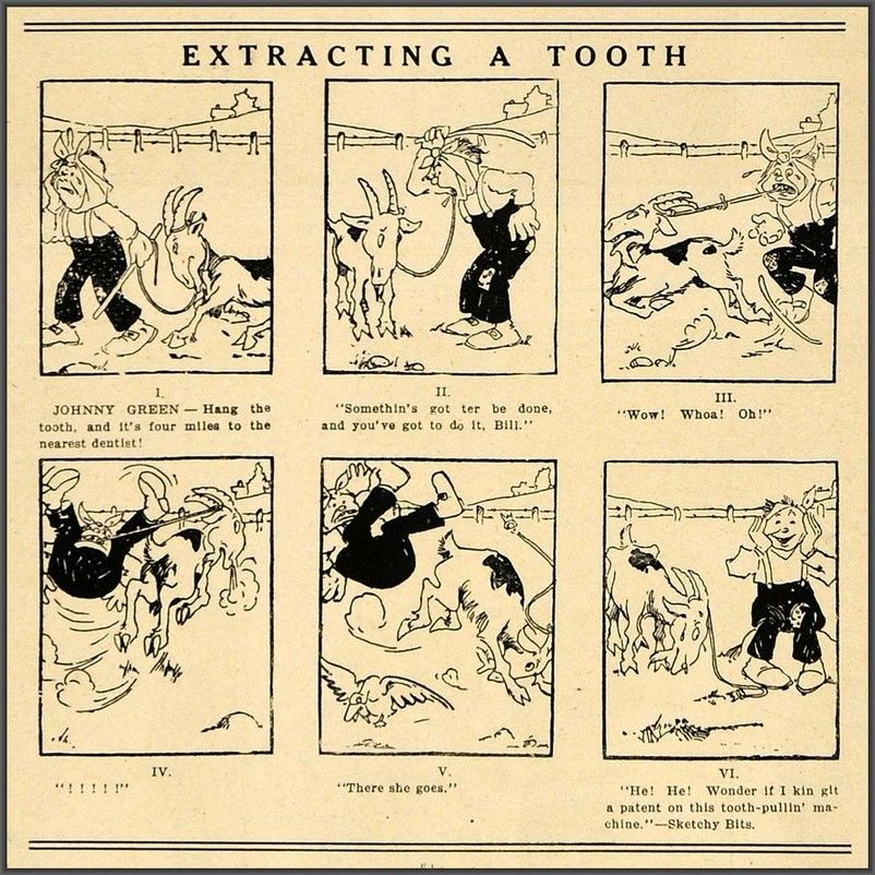 1908 comic strip of Johnny Green attempting to extract his