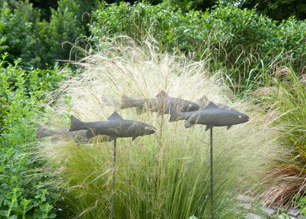 Fish Metal Garden Stakes Home Outdoor Ornaments Art Metal Trout