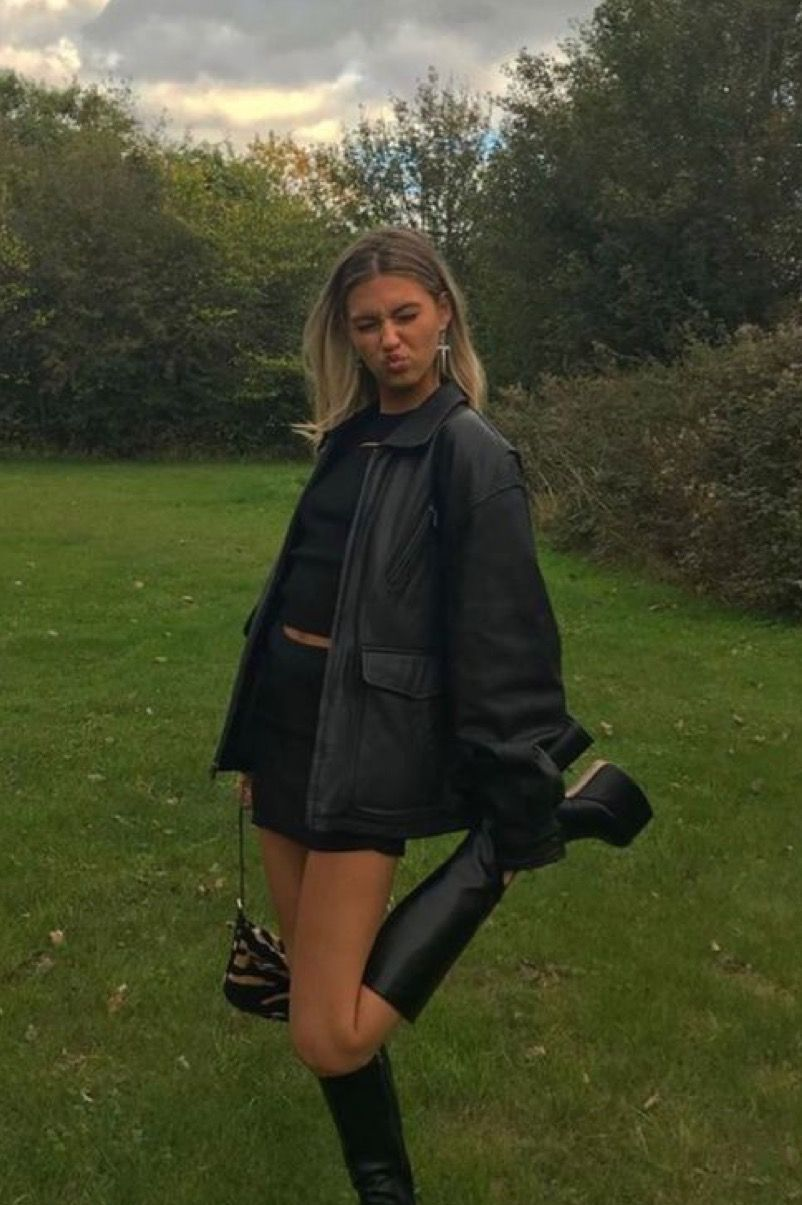 Black Leather Jacket + Mini Skirt Outfit