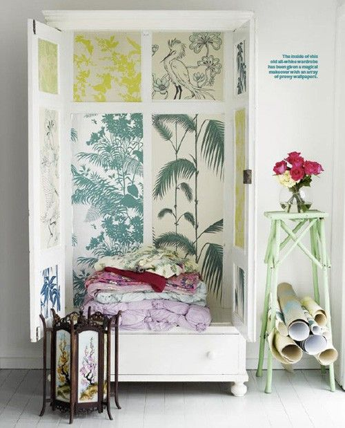 Decorate The Inside Of An Armoire With Wallpaper I Like It