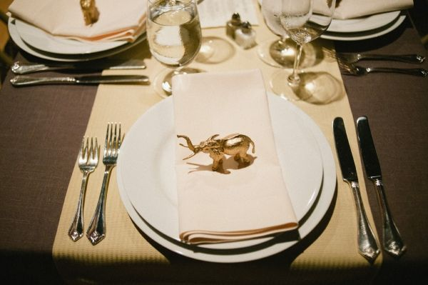 Love this elephant. Great idea for wedding- I plan to buy up some plastic toy animals and paint them with metallics.