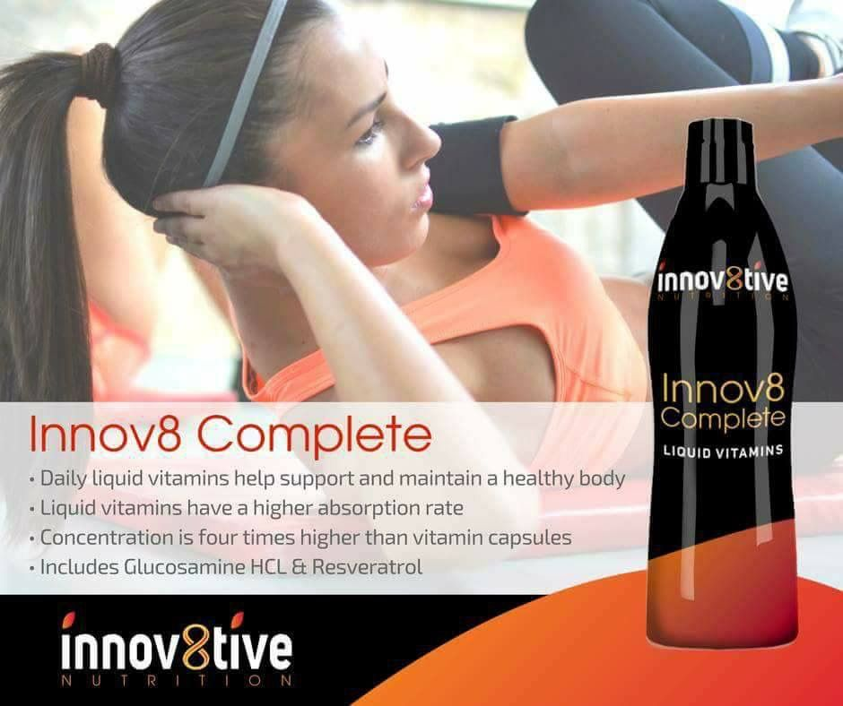 Innov8tive Nutrition Vitamins and Supplements Daily liquid vitamin helps to support and maintain a healthy body PDR states liquid vitamins are 98% absorbable versus 10-20% pill form Helps support adrenal and nervous system functions Glucosamine assists in preserving joint health Antioxidant protection and helps the body to produce energy