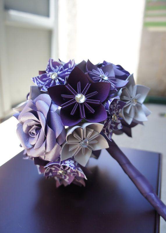 Paper Kusudama Rose Flower Wedding Bouquet Purple by PawsDesigns ...