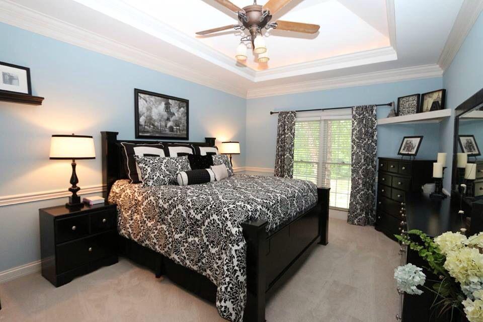 Light blue, black and ivory master bedroom | Home, Home ...