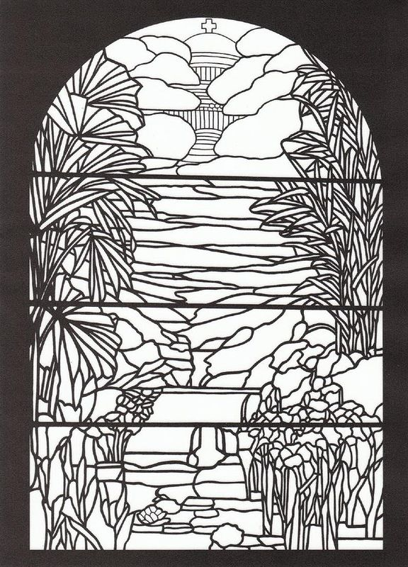 tiffany designs stained glass coloring book 1991 - Stained Glass Coloring Book
