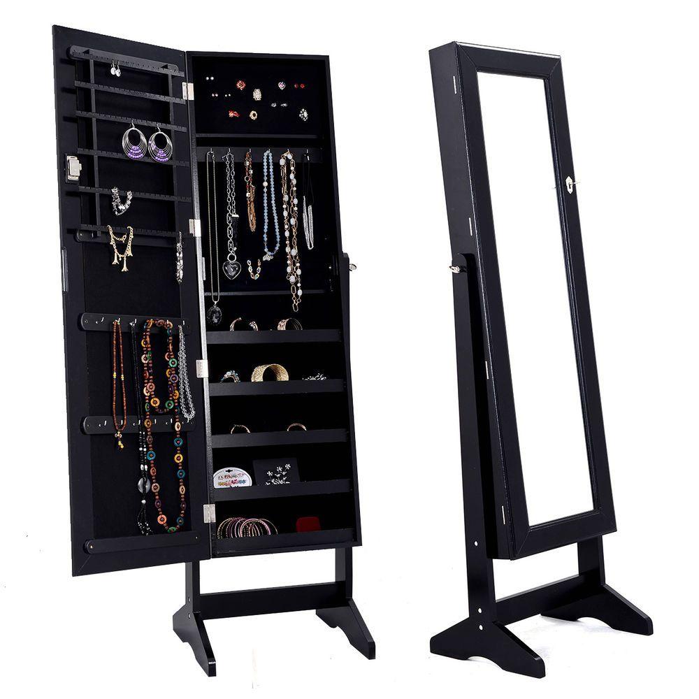 Jewelry Cabinet Mirrored Armoire Mirror Organizer Storage Box Ring W