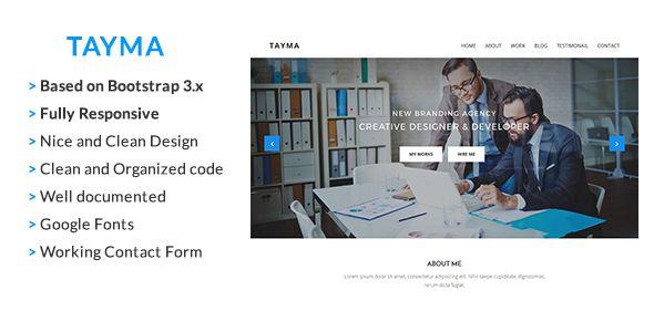 Tayma Resume  Minimal Portfolio Responsive HTML Template Website